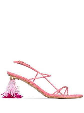 Jacquemus 70 Raphia Streamer Heel Sandals 201FO10201 Pink | Farfetch