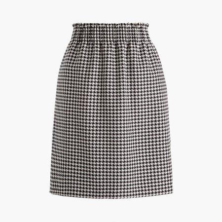 Wool-blend pull-on mini skirt with elastic waist
