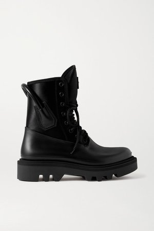 Combat Leather And Neoprene Ankle Boots - Black