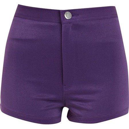 Purple High Waisted Denim Shorts ($14)