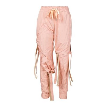 Nicopanda Pink Satin Ribbon Tie Deconstructed Sweatpants