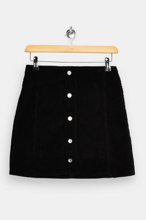 Black Corduroy Button Through Mini Skirt | Topshop
