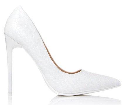 White Croc Court Heels- ISawItFirst