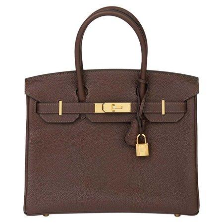 Hermes, Chocolate Brown Togo Leather Birkin 30 Bag