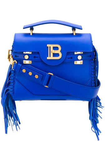 Shop blue Balmain B-buzz 23 fringed bag with Express Delivery - Farfetch