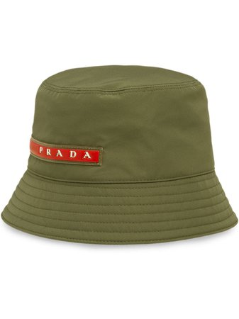 Shop green Prada logo patch bucket hat with Express Delivery - Farfetch