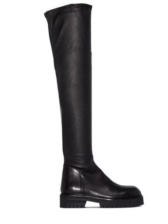 Ann Demeulemeester thigh-high leather boots black 2014287684099 - Farfetch