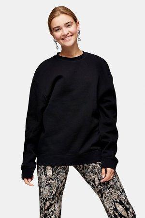Black Flatlock Oversized Sweatshirt