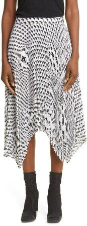 Psychedelic Salamander Print Asymmetrical Pleated Skirt