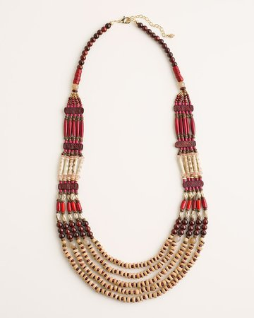 Cherry-Colored Bib Necklace - Chico's