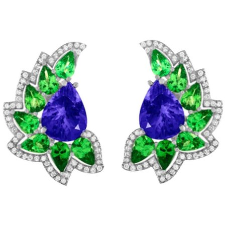Cresent Moon Tanzanite Mint Green Garnet Diamond Earrings For Sale at 1stDibs