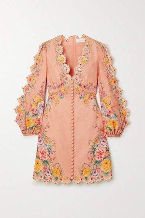 Zinnia Floral-print Linen And Cotton-blend Mini Dress - Pink