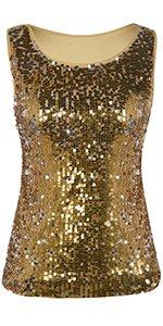 kayamiya Women's 1920S Style Glitter Sequined Vest Tank Tops at Amazon Women's Clothing store