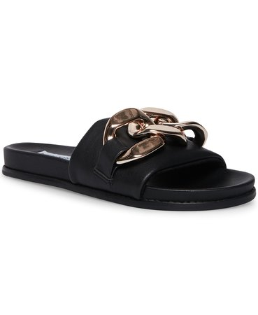 Black Steve Madden Women's Delay Mega-Chain Slide Sandals & Reviews - Sandals - Shoes - Macy's