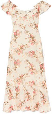 Butterfly Off-the-shoulder Tiered Floral-print Crepe Dress - Ecru
