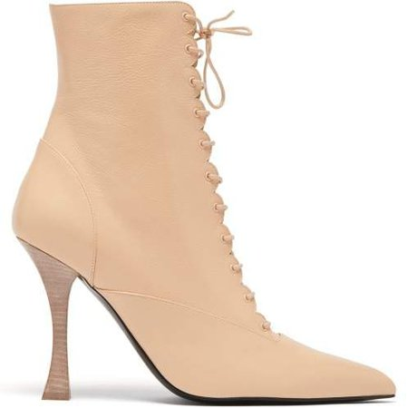 X Tabitha Simmons Leather Ankle Boots - Womens - Light Pink