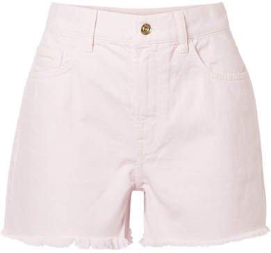 The Aficionado Frayed Denim Shorts - Pastel pink