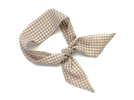 Gingham Short Skinny Scarf Hair Head Wrap Ponytail Twilly