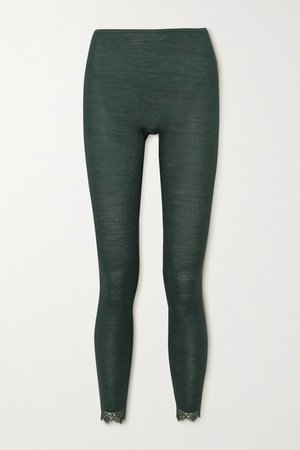 Woolen Lace-trimmed Ribbed Wool And Silk-blend Leggings - Dark green