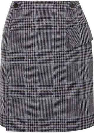 Ivonne Checked Cotton-blend Wrap Mini Skirt - Navy