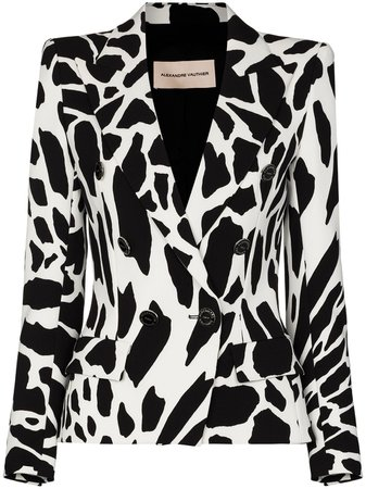 Shop white Alexandre Vauthier animal-print double-breasted blazer with Express Delivery - Farfetch