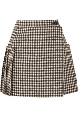 Vivienne Westwood | Frayed pleated gingham wool wrap mini skirt | NET-A-PORTER.COM