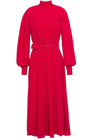 Crimson Emiliano belted pleated crepe midi dress | Sale up to 70% off | THE OUTNET | EMILIA WICKSTEAD | THE OUTNET