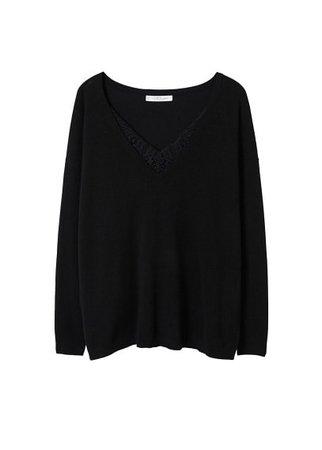 Violeta BY MANGO Blond-lace detail sweater