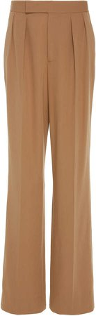 Bingham Pleated Wool-Crepe Wide-Leg Pants