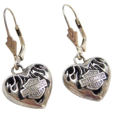 Sterling Silver Harley Davidson Motorcycle Heart Earrings ~ Lever : Arnold Jewelers | Ruby Lane