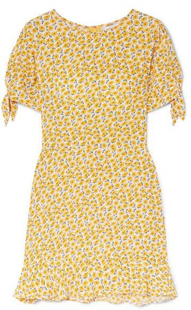Daphne Bow-detailed Floral-print Crepe Mini Dress - Yellow
