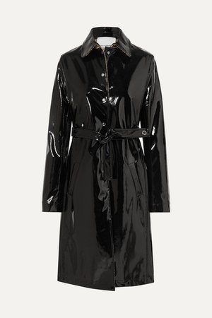 PACO RABANNE Belted vinyl trench coat