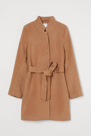Tie Belt Coat - Dark beige - Ladies   H&M US