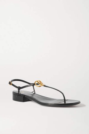 Garavani Go Logo Embellished Leather Sandals - Black
