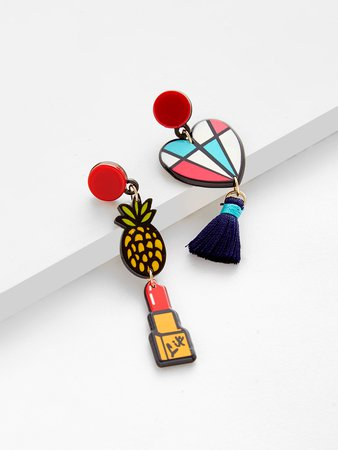 Lipstick & Heart Drop Mismatched Earrings