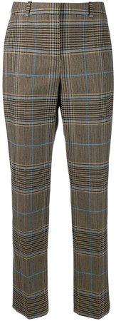 check straight-leg trousers