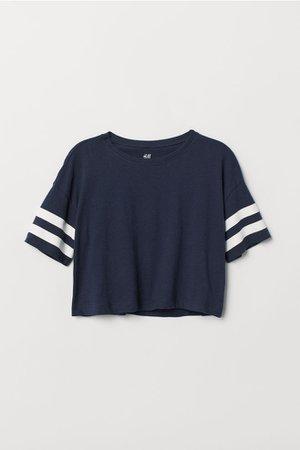 Short T-shirt - Dark blue - Kids   H&M US