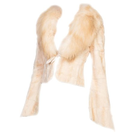1990s Roberto Cavalli Cream Fur Jacket With Fox Collar NWT For Sale at 1stdibs