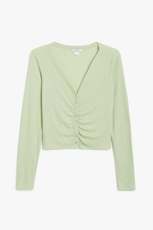 Ribbed crop cardigan - Light green - Cropped tops - Monki WW