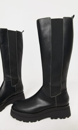 black Track sole boots with elastic gores - Women's Just in   Stradivarius United States