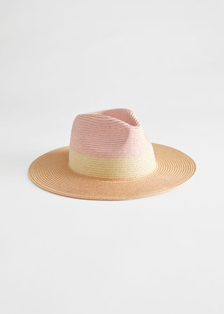 Colour Block Straw Hat - Beige, Pink - Hats - & Other Stories