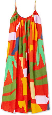 Fiona Printed Organic Linen Maxi Dress - Orange