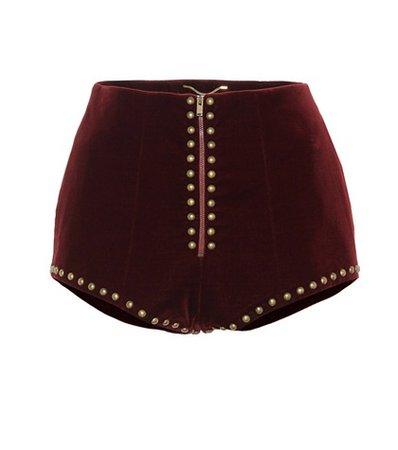 Studded velvet shorts