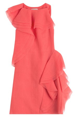 Crepe Organza Sleeveless Dress with Asymmetrical Ruffles Gr. US 4
