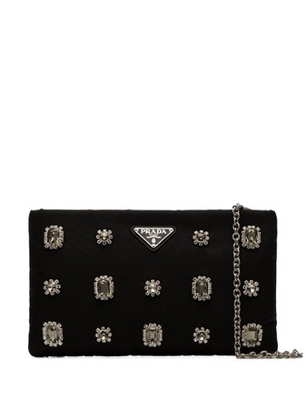 Prada Embellished Clutch 1BF082VOPO2CCJ Black | Farfetch