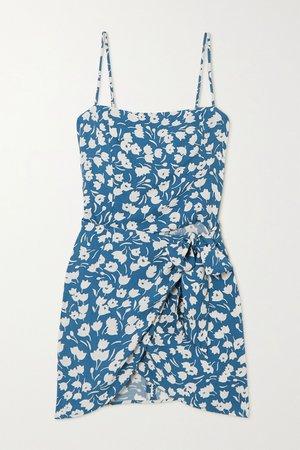 Blue Canal wrap-effect floral-print crepe mini dress   Reformation   NET-A-PORTER