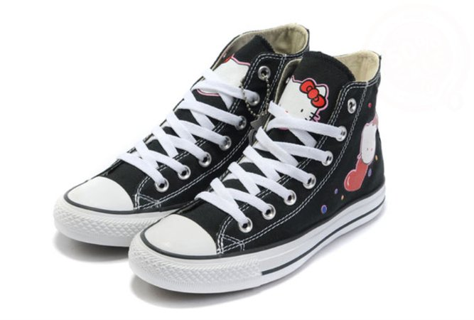 Leisure Floor Price Hello Kitty Converse All Star High Tops Black Canvas Sneakers, the Lowest price