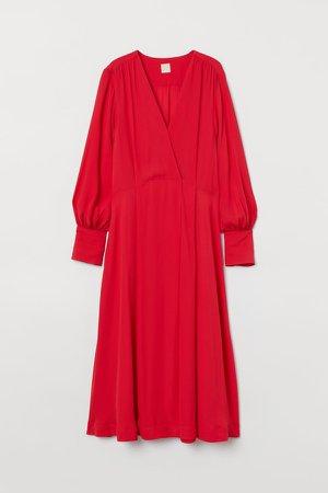 Calf-length Dress - Red