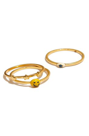 Madewell Smiley Face Ring Set | Nordstrom
