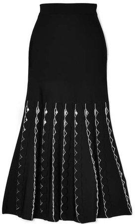 Cutout Stretch-knit Midi Skirt - Black